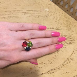 FLASH SALE! Golden ring with multicolor gems